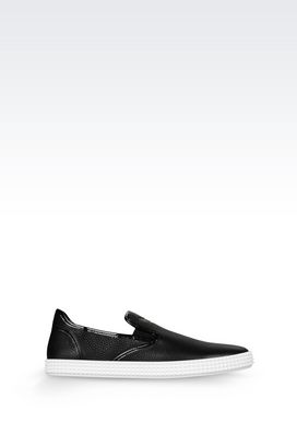 Armani Sneakers Men slip-on in tumbled calfskin