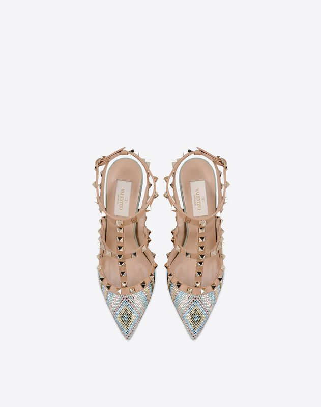 Rhinestones<br>Multicolor Pattern<br>Buckling ankle strap closure<br>Leather sole<br>Narrow toeline<br>Spike heel<br> Women 11000096VU