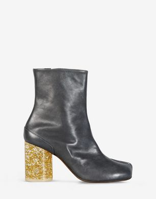 Leather 'Tabi' boots with plexi heel