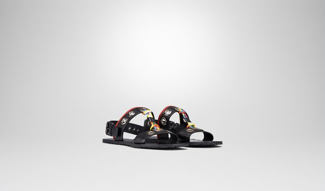 SANDALS IN NERO CALF AND MULTICOLOR FABRIC