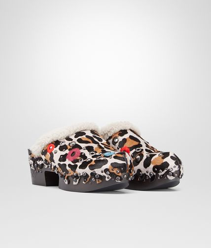CLOG IN LEOPARD PRINT CALF AND SHEARLING