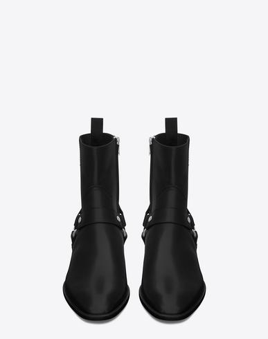 Saint Laurent Classic Wyatt 40 Harness Boot In Black Leather