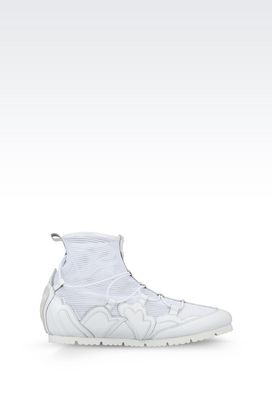 Armani High-top sneakers Women runway sneaker in mesh and leather