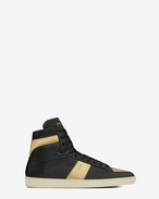 signature court classic sl/10h high top sneaker in black leather and gold metallic leather