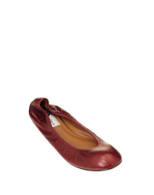 lanvin classic dark red ballet pump women