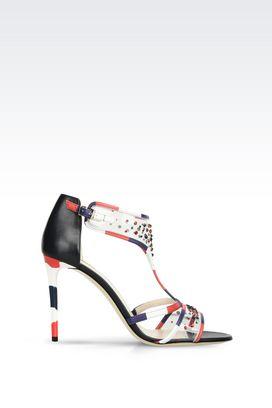Armani High-heeled boots Women runway sandal in napa leather with rhinestones