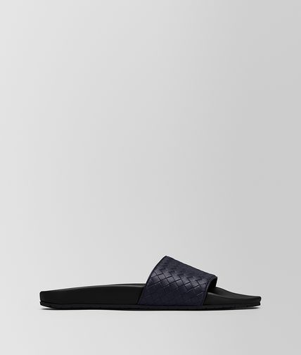 SANDALI IN VITELLO INTRECCIATO DARK NAVY