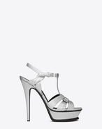 Classic TRIBUTE 105 Sandal in Silver Lizard Embossed Metallic Leather