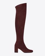 BB 70 kniehoher Stiefel aus burgunderrotem Veloursleder