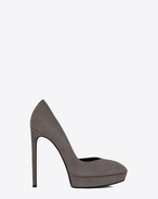 Classic JANIS 105 D'Orsay Escarpin Pump in Dark Anthracite Suede