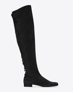 BB 20 kniehoher Stiefel aus schwarzem Veloursleder mit Fransen