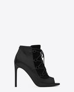Klassische JANE 105 Stiefelette mit offenem Zehenbereich aus schwarzem Leder und Velours