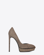 Classic JANIS 105 D'Orsay Escarpin Pump in Gold and Silver Woven Cotton and Polyester