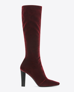 Botte haute LILY 95 en velours bordeaux