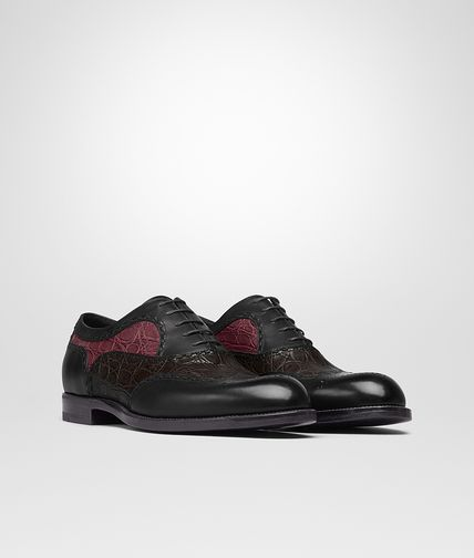 LACE UP IN NERO CALF ESPRESSO BAROLO CAIMAN