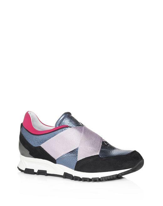 lanvin blue metallic sneaker with elastic straps  women