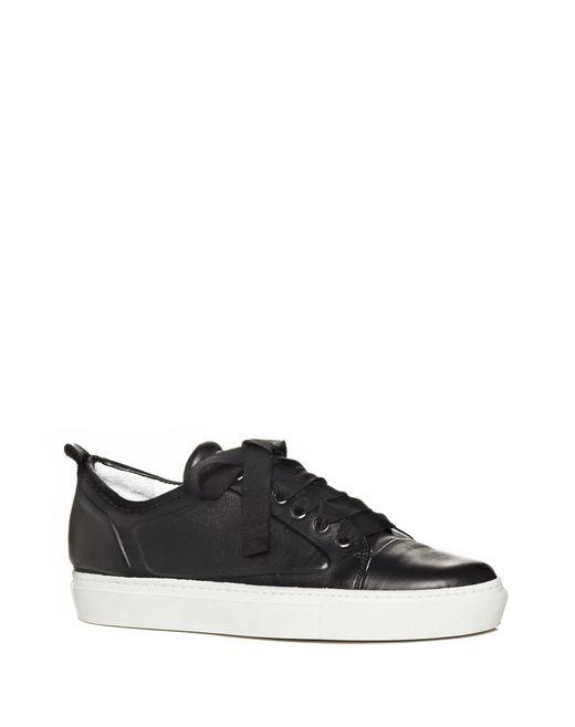 lanvin low black embossed sneaker in lambskin women