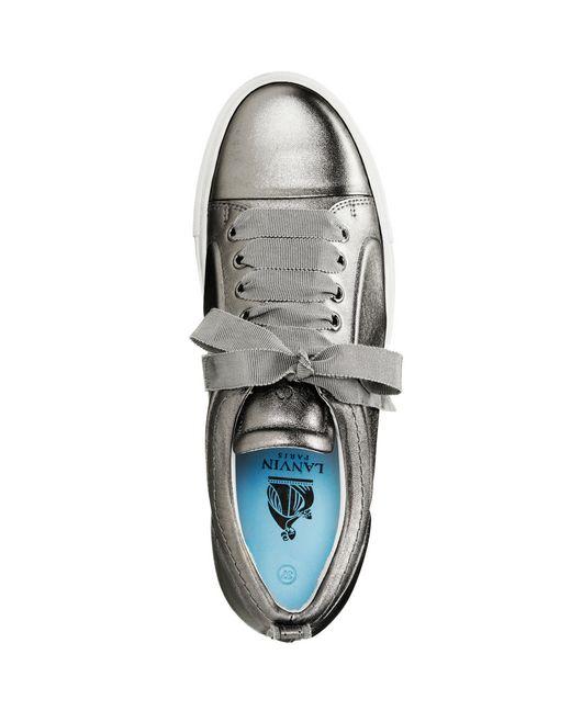 lanvin low gunmetal embossed sneaker  women