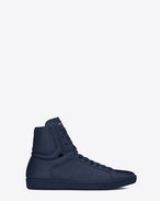 Signature COURT CLASSIC SL/01H High Top Sneaker in Indigo Blue Leather