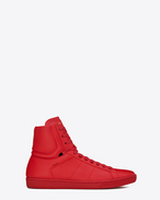 Signature COURT CLASSIC SL/01H High Top Sneaker in Red Leather