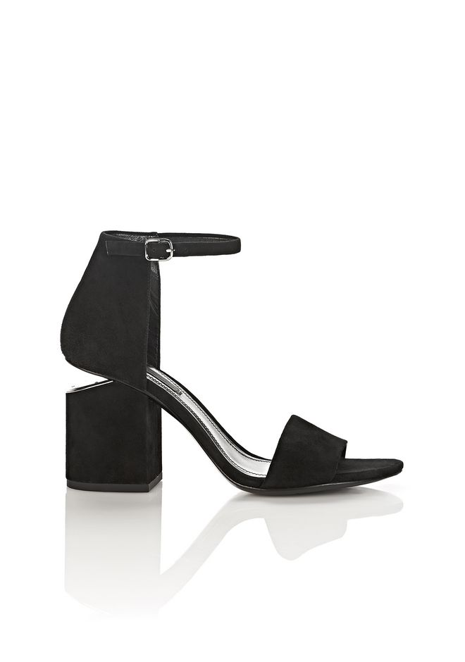 ALEXANDER WANG new-arrivals-shoes-woman ABBY SUEDE SANDAL IN BLACK WITH RHODIUM