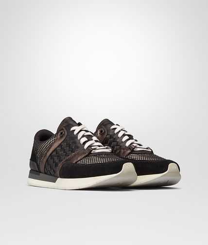 SNEAKER IN NERO SUEDE AND CREAM RUBBER BRUNITO GROS GRAIN