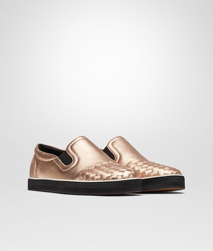 SNEAKER IN ROSE GOLD GROS GRAIN INTRECCIATO