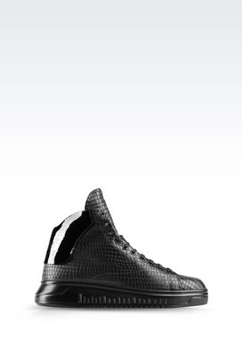 Armani High-top sneakers Men high top sneaker in croc print calfskin