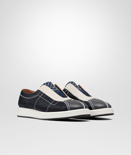 SNEAKER IN VITELLO DARK NAVY MULTICOLOR INTRECCIATO