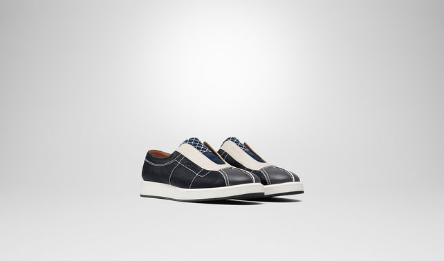SNEAKER IN DARK NAVY MULTICOLOR CALF INTRECCIATO