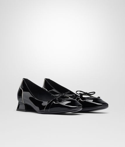 PUMPS IN NERO MIST PATENT CALF INTRECCIATO