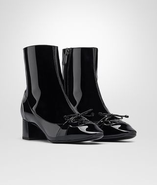 CHERBOURG ANKLE BOOT IN NERO MIST PATENT CALF, INTRECCIATO DETAILS