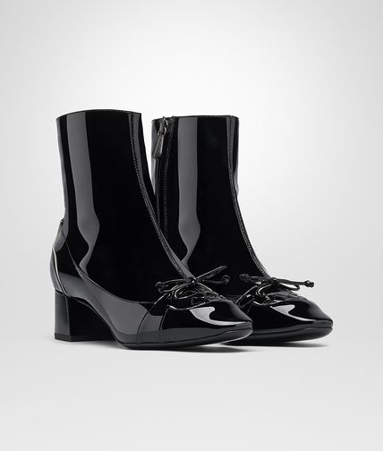 ANKLE BOOT IN NERO MIST PATENT CALF INTRECCIATO