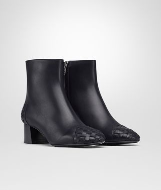 CHERBOURG ANKLE BOOT IN DARK NAVY CALF, INTRECCIATO DETAILS