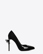 Classic PARIS SKINNY 105 Escarpin V Bow Pump in Black Patent Leather and Clear Crystal