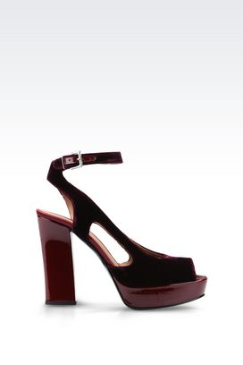 Armani High-heeled sandals Women sandal in velvet and satin