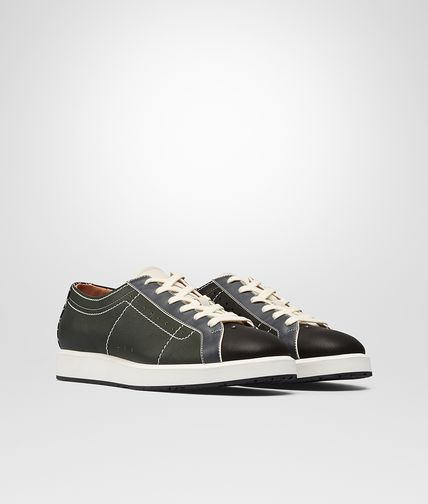 SNEAKER IN DARK SERGENT MULTICOLOR CALF INTRECCIATO