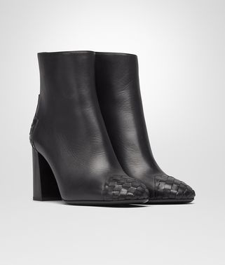 CHERBOURG ANKLE BOOT IN NERO CALF, INTRECCIATO DETAILS
