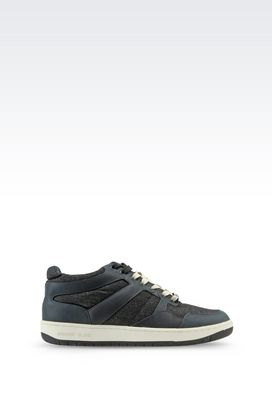Armani High-top sneakers Men sneaker in denim and leather