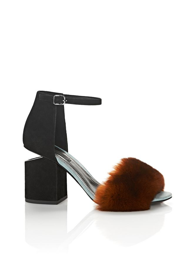 ALEXANDER WANG Heels ABBY SUEDE AND FUR SANDAL WITH RHODIUM