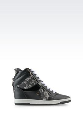 Armani Footwear Women printed wedge trainer