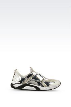 Armani Footwear Men runway silver trainer