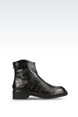 Armani Ankle boots Men runway ankle boot in croc print calfskin