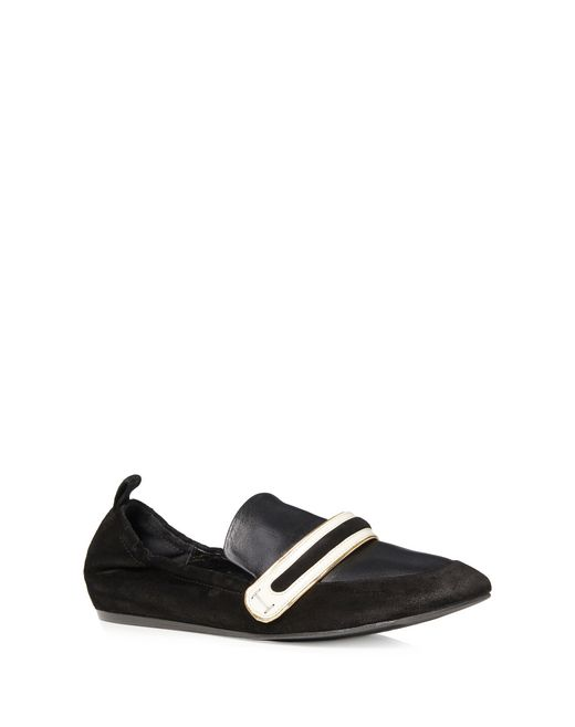 lanvin supple dual material loafer women