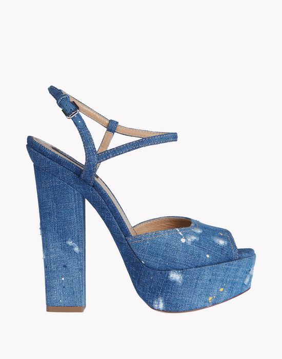 denim platform ziggy sandals shoes Woman Dsquared2
