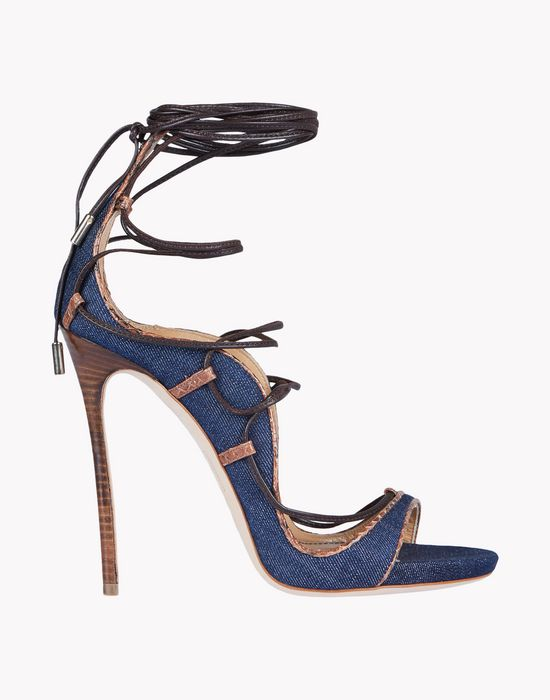 denim lace-up riri sandals shoes Woman Dsquared2