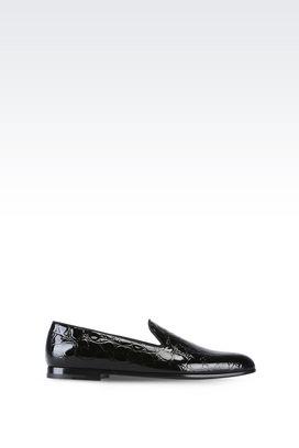 Armani Moccasins Men croc print patent leather loafers