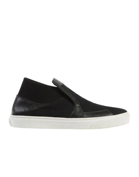 Stone Island Black Canvas Slip-On Sneakers