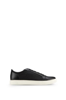 Armani Shoes Men leather and fabric low-top sneakers with all-over logo