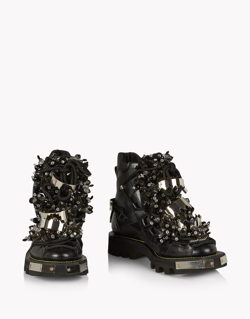 crystal embellished combat boots shoes Man Dsquared2